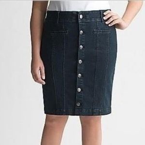 Lane Bryant Denim Button Front Pencil Skirt